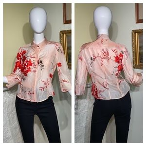 Hugo Boss Silk Floral Fitted Short Blouse